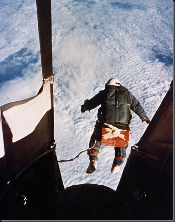 On Aug. 16, 1960, Col. Kittinger stepped from a balloon-supported gondola at the altitude of 102,800 feet. In freefall for 4.5 minutes at speeds up to 714 mph and temperatures as low as -94 degrees Fahrenheit, he opened his parachute at 18,000 feet. (U.S. Air Force photo)