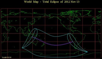 Total  Eclipse  of  2012 Nov 13 - World map